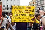Manifestazione contro l'obbligo del green pass manifestanti in piazza Vittoria cronaca Brescia 24/07/2021 Demonstration against the mandatory green pass protesters in piazza Vittoria chronicle Brescia 24/07/2021