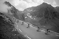 peloton coming down over the top of the Col du Tourmalet (HC/2115m/17.1km/7.3%)<br /> <br /> 2014 Tour de France<br /> stage 18: Pau - Hautacam (145km)