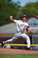 Auburn Doubledays relief pitcher Sterling Sharp (31) during a game against the Batavia Muckdogs on September 5, 2016 at Dwyer Stadium in Batavia, New York.  Batavia defeated Auburn 4-3. (Mike Janes/Four Seam Images)