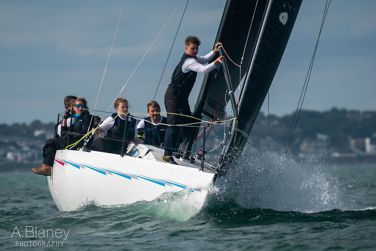 Nigel Biggs' classic Half Tonner Checkmate XVIII continues to lead IRC I. Photo: Annraoi Blaney