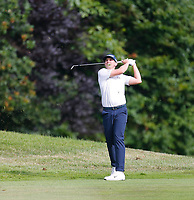 2nd July 2021; Mount Juliet Golf Club, Kilkenny, Ireland; Dubai Duty Free Irish Open Golf, Day Two; John Catlin of the USA takes his second shot from the rough on the 15th hole
