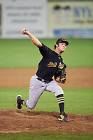 West Virginia Black Bears relief pitcher Nicholas Economos (66) delivers a pitch during a game against the Batavia Muckdogs on August 7, 2017 at Dwyer Stadium in Batavia, New York.  West Virginia defeated Batavia 6-3.  (Mike Janes/Four Seam Images)