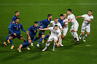 Italian and Estonian players prepare to receive a corner kick during the friendly football match between Italy and Estonia at Artemio Franchi Stadium in Firenze (Italy), November, 11th 2020. Photo Andrea Staccioli/ Insidefoto