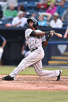 Augusta GreenJackets second baseman T. Relaford (1) swings at a pitch during a game against the Asheville Tourists on April 28, 2015 in Asheville, North Carolina. The Tourists defeated the GreenJackets 7-3. (Tony Farlow/Four Seam Images)