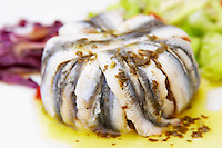 Bouzigues Languedoc. Marinated sardines with salad as a starter. France. Europe.