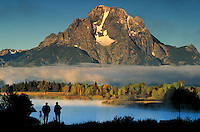 Photographers at Oxbow Bend photograph Mt. Moran, Teton Mountains, Grand Teton National Park, Wyoming. Jackson Hole Wyoming, Grand Teton National Park, Mt. Moran, Oxbow Bend.