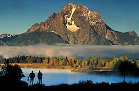 Photographers at Oxbow Bend photograph Mt. Moran, Teton Mountains, Grand Teton National Park, Wyoming. Jackson Hole Wyoming, Grand Teton National Park, Mt. Moran, Oxbow Bend.