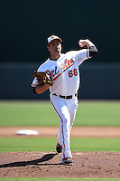 Baltimore Orioles pitcher T.J. McFarland (66) during a Spring Training game against the Detroit Tigers on March 4, 2015 at Ed Smith Stadium in Sarasota, Florida.  Detroit defeated Baltimore 5-4.  (Mike Janes/Four Seam Images)