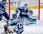 1 December 2018: University of Maine Black Bear Goaltender Carly Jackson, a Junior from Amherst, Nova Scotia, makes a second period save against the University of Vermont Catamounts at Gutterson Fieldhouse in Burlington, Vermont. The Lady Cats defeated the Lady Bears 3-2 in the second game of their 2-game Hockey East series. Mandatory Credit: Ed Wolfstein Photo *** RAW (NEF) Image File Available ***