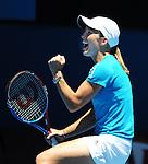 anuary 26, 2010.Justine Henin of Belgium, celebrates after defeating Russia's Nadia Petrova 7-6, 7-5 in the quarter final of the Austrain Open, Melbourne Park, Melbourne, Australia