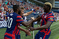 KANSAS CITY, KS - JULY 11: Sam Vines #3 of the United States scores a goal and celebrates with Shaq Moore,Gyasi Zardes during a game between Haiti and USMNT at Children's Mercy Park on July 11, 2021 in Kansas City, Kansas.