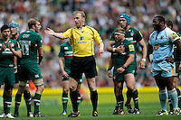 Referee Wayne Barnes sends Dylan Hartley of Northampton Saints off (not pictured) just before half time during the Aviva Premiership Final between Leicester Tigers and Northampton Saints at Twickenham Stadium on Saturday 25th May 2013 (Photo by Rob Munro)