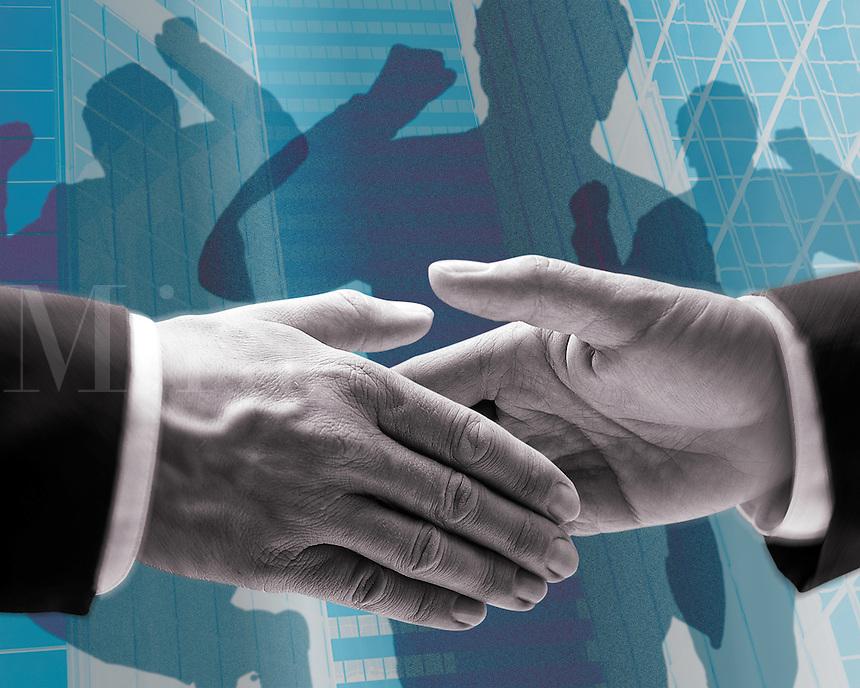 Businessmen handshaking, co-workers behind celebrating, urban setting (Composite)