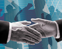 Businessmen handshaking, co-workers behind celebrating, urban setting (Composite)