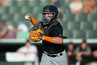 Delmarva Shorebirds catcher Daniel Fajardo (14) chases a runner back towards third base during the game against the Kannapolis Intimidators at Kannapolis Intimidators Stadium on July 2, 2017 in Kannapolis, North Carolina.  The Shorebirds defeated the Intimidators 5-4.  (Brian Westerholt/Four Seam Images)