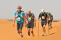 4th October 2021; Tisserdimine to Kourci Dial Zaid;  Marathon des Sables, stage 2 of  a six-day, 251 km ultramarathon, which is approximately the distance of six regular marathons. The longest single stage is 91 km long. This multiday race is held every year in southern Morocco, in the Sahara Desert. Daniel Jemmett (GB) leads the pack through the dune section