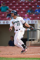 Cedar Rapids Kernels first baseman Zander Wiel (21) at bat during a game against the Dayton Dragons on July 24, 2016 at Perfect Game Field in Cedar Rapids, Iowa.  Cedar Rapids defeated Dayton 10-6.  (Mike Janes/Four Seam Images)