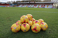 Match balls on the pitch during Stevenage vs Doncaster Rovers, Sky Bet EFL League 2 Football at the Lamex Stadium on 3rd December 2016
