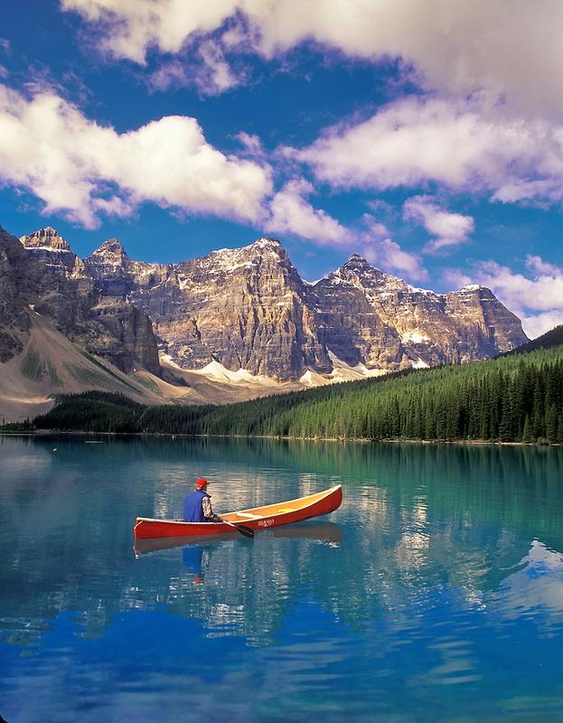 Canoeist on Moraine Lake. Banff National Park, Canada