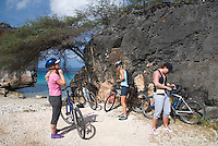 Jan Thiel, Curacao, Netherlands Antilles, April 2009. Fort Beekenburg Fortress. Mountainbiking is the perfect way to explore Curacao. Ellemieke van Beek of Wannabike tours guides a small group of bikers through the rugged nature of Jan Thiel Lagoon. Jan Thiel lagoon, located on the southeast side of the island, is a very popular area for local mountain bikers of all levels.<br /> The area is one of the most unique nature reserves on Curacao characterized by its rare vegetation, exceptional bird life, and unspoiled views. The island has a lot more to offer than sun, sea, and beaches! However, the best spots are hard to find without a guide, even with a map