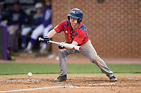 Tom Brady (23) of the NJIT Highlanders lays down a sacrifice bunt during game two of a double-header against the High Point Panthers at Williard Stadium on February 18, 2017 in High Point, North Carolina.  The Highlanders defeated the Panthers 4-2.  (Brian Westerholt/Four Seam Images)