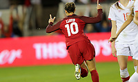 San Jose, CA - Sunday November 12, 2017: Carli Lloyd scores and celebrates during an International friendly match between the Women's National teams of the United States (USA) and Canada (CAN) at Avaya Stadium.