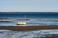 Lone sailboat morred in tidal flats, Provincetown, Cape Cod, Massachusetts, USA.