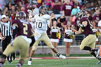 Idaho quarterback Matt Linehan (10) looks to pass during first half of an NCAA Football game, Saturday, October 04, 2014 in San Marcos, Tex. Texas State leads Idaho 21-3 at the halftime(Mo Khursheed/TFV Media via AP Images)