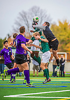 19 October 2013: University at Albany Great Dane Goalkeeper Eric Orologio, a Freshman from WillistonPark, NY, jumps to make a save against the University of Vermont Catamounts at Virtue Field in Burlington, Vermont. The Catamounts defeated the visiting Danes 2-1. Mandatory Credit: Ed Wolfstein Photo *** RAW (NEF) Image File Available ***