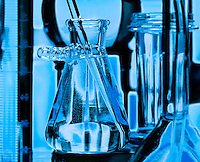 Glass vials and beakers used in medical scientific research. lab, laboratory.<br />