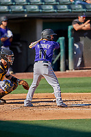 Peter Mooney (11) of the Albuquerque Isotopes bats against the Salt Lake Bees at Smith's Ballpark on April 27, 2019 in Salt Lake City, Utah. The Isotopes defeated the Bees 10-7. This was a makeup game from April 26, 2019 that was cancelled due to rain. (Stephen Smith/Four Seam Images)
