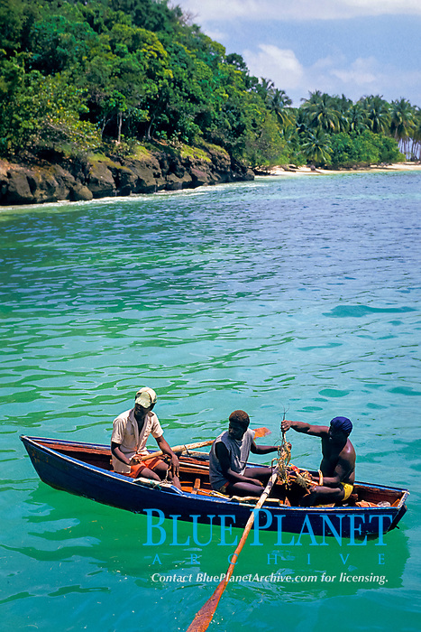 native fishermen with catch of spiny lobster, Samana Bay, Dominican Republic, West Indies, Caribbean, Atlantic