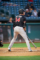 Sam Hilliard (14) of the Albuquerque Isotopes bats against the Salt Lake Bees at Smith's Ballpark on April 24, 2019 in Salt Lake City, Utah. The Isotopes defeated the Bees 5-4. (Stephen Smith/Four Seam Images)