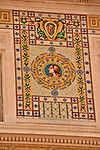 Detail of mosaics decorating the facade of Palazzo del Governo, Government House, on Piazza Unita d'Italia in Trieste, Italy