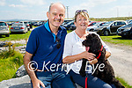 Joe and Mary McMahon from Tralee, taking Roxy the dog for a stroll in Banna on Tuesday