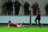 Steff Evans of Scarlets scores his sides seventh try during the Guinness Pro14 Round 5 match between Scarlets and Isuzu Southern Kings at the Parc Y Scarlets in Llanelli, Wales, UK. Saturday 29 September 2018