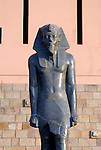 Black granite statue of Amenhotep III was usurped by Merenptah.The statue stands in the gardens at the museum in Luxor.Amenhotep III ruled Egypt from 1391-1353 or 1388-1351 BC and Merenptah ruled from 1213-1203 BC.The town of Luxor occupies the eastern part of a great city of antiquity which the ancient Egytians called Waset and the Greeks named Thebes.
