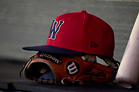 Worcester Red Sox hat and Wilson glove during a game against the Rochester Red Wings on September 3, 2021 at Frontier Field in Rochester, New York.  (Mike Janes/Four Seam Images)