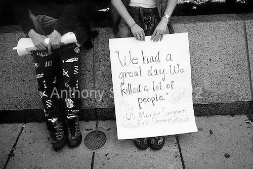 Washington DC, District of Columbia.USA.April 12, 2003..Anti-Iraq war demonstration.