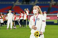 YOKOHAMA, JAPAN - AUGUST 6: Becky Sauerbrunn #4 of the United States with her bronze medal during the ceremony at International Stadium Yokohama on August 6, 2021 in Yokohama, Japan.