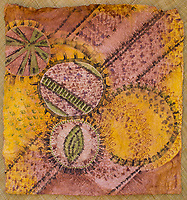 Tapa (or kapa) cloth after it has been dyed and completed, by artist Roen Hufford, Big Island of Hawai'i. The wauke (or paper mulberry) bark that becomes cloth and the Hawaiian plants that the dyes are made from are all grown on her family's land.
