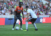 Swansea City's Joel Asoro vies for possession with Sheffield United's Enda Stevens during the Sky Bet Championship match between Sheffield United and Swansea City at Bramall Lane, Sheffield, England, UK. Saturday 04 August 2018