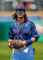 6 June 2021: New Hampshire Fisher Cats infielder Austin Martin warms up prior to a game against the Binghamton Rumble Ponies at Northeast Delta Dental Stadium in Manchester, NH. The Rumble Ponies defeated the Fisher Cats 9-6 to close out their 6-game series. Mandatory Credit: Ed Wolfstein Photo *** RAW (NEF) Image File Available ***