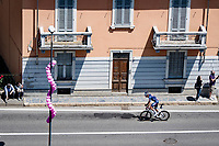 Oscar Riesebeek (NED/Alpecin-Fenix) rolling through the town of Borgomanero in pursuit of the breakaway group<br /> <br /> 104th Giro d'Italia 2021 (2.UWT)<br /> Stage 19 from Abbiategrasso to Alpe di Mera (Valsesia)(176km)<br /> <br /> ©kramon