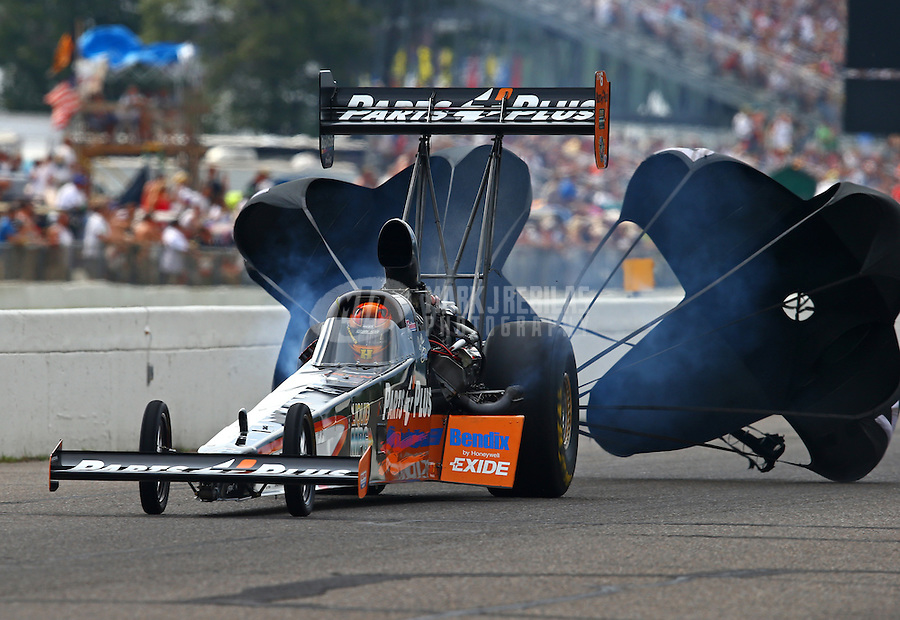 Aug 16, 2014; Brainerd, MN, USA; NHRA top fuel dragster driver Clay Millican during qualifying for the Lucas Oil Nationals at Brainerd International Raceway. Mandatory Credit: Mark J. Rebilas-