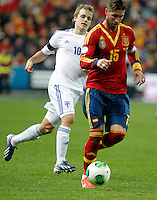 Spain's Sergio Ramos and Finland's Pukki during international match of the qualifiers for the FIFA World Cup Brazil 2014.March 22,2013.(ALTERPHOTOS/Victor Blanco)