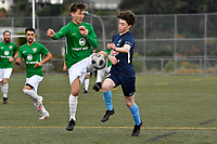 Jesse Randall of the North Wellington FC competes for the ball with Bertie Fish of the Wairarapa United during the Central League Football -  North Wellington FC v Wairarapa United at Alex Moore Park ( Alex Moore Artificial), Johnsonville, New Zealand on Saturday 29 May 2021.<br /> Copyright photo: Masanori Udagawa /  www.photosport.nz