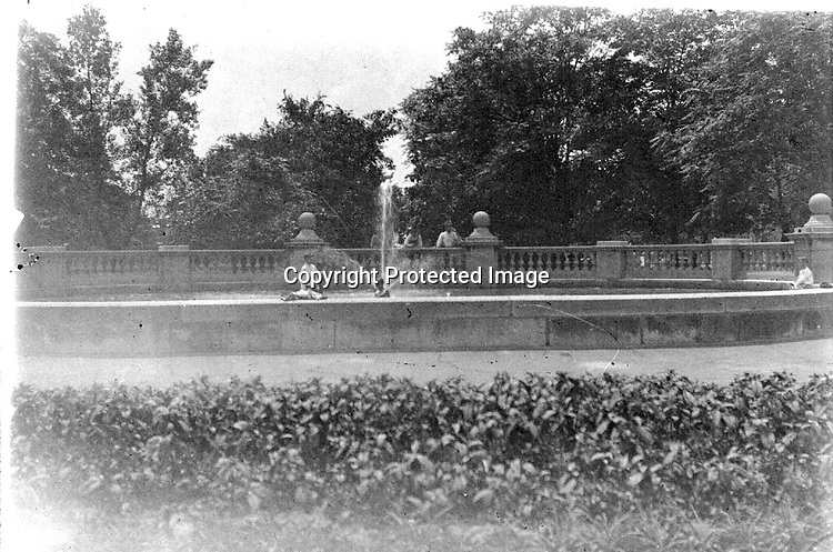 Fountain, probably in Kansas City, Missouri. One of the few negatives in the collection not taken in Lincoln, Nebraska.<br /> <br /> Photographs taken on black and white glass negatives by African American photographer(s) John Johnson and Earl McWilliams from 1910 to 1925 in Lincoln, Nebraska. Douglas Keister has 280 5x7 glass negatives taken by these photographers. Larger scans available on request