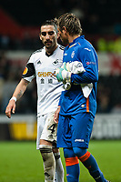 Thursday 28 November  2013  Pictured: Chico Flores talk to Diego Alves as he leaves the field<br /> Re:UEFA Europa League, Swansea City FC vs Valencia CF  at the Liberty Staduim Swansea