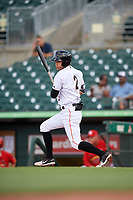 Jupiter Hammerheads second baseman Riley Mahan (2) follows through on a swing during a game against the Palm Beach Cardinals on August 4, 2018 at Roger Dean Chevrolet Stadium in Jupiter, Florida.  Palm Beach defeated Jupiter 7-6.  (Mike Janes/Four Seam Images)
